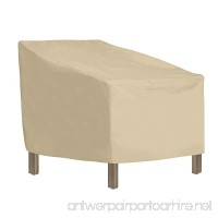 """SunPatio Patio Standard Chair Cover  Outdoor Waterproof Standard Dining Chair Cover  Heavy Duty Furniture Cover 27"""" L x 30"""" W x 32""""/22"""" H  Durable and All Weather Protector  Beige - B07DNS3HKN"""