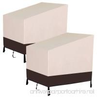 Yaheetech 2Pcs Weatherproof Outdoor Wicker Table Chair Cover Patio/Furniture Cover Regular 41 x 38 x 37'' Tan - B07DNQV11Q