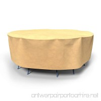 Budge All-Seasons Round Patio Table and Chairs Combo Cover  Medium (Tan) - B005NH2GR0
