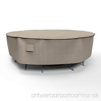 EmpirePatio P5A06PM1 Tan Tweed Extra Large Round Table and Chair Combo Cover - B00MPZXCC6