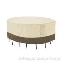 PHI VILLA Patio Round Table & Chair Set Cover  Durable Water Resistant Outdoor Furniture Cover With Pop-up Supporter  Large - B0787F9RZQ