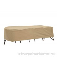 Protective Covers Weatherproof Patio Table and Chair Set Cover  72 Inch x 76 Inch  Oval/Rectangle Table  Tan - B00B7YLH28