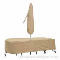 Protective Covers Weatherproof Patio Table and Chair Set Cover 80 Inch x 96 Inch Oval/RectangleTable Tan - B00B7YLH32