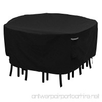 "Round Patio Table and Chair Set Cover Durable and Waterproof Outdoor Furniture Cover(Black  70""D x 23.6""H) - B076KMY6ZF"