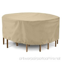"""SunPatio Outdoor Table and Chair Cover  Waterproof Patio Round Furniture Set Cover 72"""" Dia x 30"""" H  Heavy Duty Dining Table Set Cover  All Weather Protection  Beige - B07DNW51NV"""
