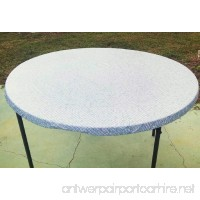 Fitted Round Elastic Edge Mosaic Vinyl Tablecloth Table Cover fits 36 to 48 BLUE - B018YL1O56