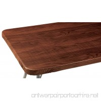 Wood Grain Vinyl Elasticized Banquet Table Cover - B01LYA1ZWR