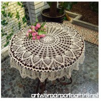 """WSHINE Vintage Crochet Round Table Cover Lace Doilies TableCloth for Furniture Decor (27.6""""  white) - B06VVL8MXW"""