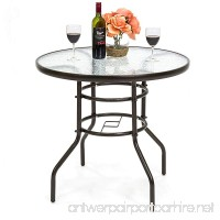 Best Choice Products 32in Round TemperedGlass Patio Dining Bistro Table w/Umbrella Stand -Dark Brown - B076TY43VZ