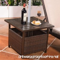 Custpromo Outdoor Patio Rattan Wicker Steel Side Deck Table Bistro Table With Umbrella Hole - B07B6VMWS8