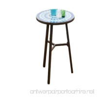 GT Small Blue Patio Table Round Side Table Garden OutdoorEnd Table Backyard Outside Furniture & E book By Easy2Find - B07FN6Z885