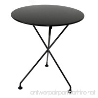Mobel Designhaus French Café Bistro 3-leg Folding Bistro Table Jet Black Frame 24 Round Metal Top x 29 Height - B009P2Y4EC