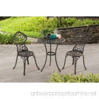 Vinely Cast Outdoor 3 Piece Cast Iron Patio Bistro Set in Jet Black Finish Chairs (16.14W x 19.29D x 33.07H in.) Table(24 diam. x 28.3H in.) - B01N0ZUD5A