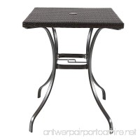 Wicker Table with Umbrella Hole Bistro All Weather for Outdoor Use 27.95 L x 27.95 W x 35.63 H - B06XSNKX4J