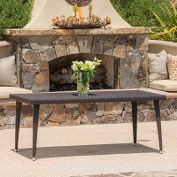 Andrea Outdoor Wicker 71 Inch Dining Table with Aluminum Frame (Multi-brown) - B072PRCFFM