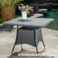 Colonial Outdoor Grey Wicker Square Dining Table - B06Y3RK3HY