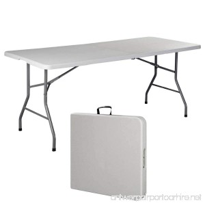 DreamHank 6' Folding Portable Plastic Outdoor Camp Table - B075QFYBY9