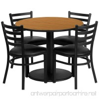 Flash Furniture 36'' Round Natural Laminate Table Set with 4 Ladder Back Metal Chairs - Black Vinyl Seat - B00A169NOW