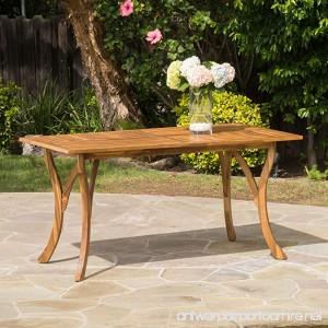 Hestia Teak Finish Acacia Wood Rectangular Dining Table - B01HFEI9LU