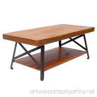 HOMCOM Acacia Wood Outdoor Coffee Table Rustic Style Acacia with Storage Shelf - B07B9T7M7G
