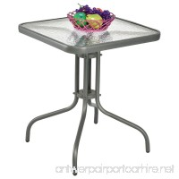jn.widetrade Square Outdoor Bistro Table Metal Grey Steel Frame with Glass Table Top for Backyard Swimming Pool side Decor Patio & e-book by - B07BWQM6T1