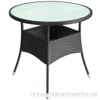 LicongUS Outdoor Table Poly Rattan Black Dining Table Patio Dining Table Dimensions: 31.5 x 29 (Diameter x H) - B07FTBT4FP