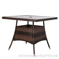 """LUCKUP 32"""" x 32"""" Patio Outdoor Dining Table Tempered Glass Top Umbrella Stand Square Table  Chocolate - B01N5CAXNP"""
