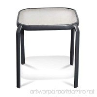 Never Rust Aluminum and Glass Outdoor End Table in Grey - B07CZQ3DQ1