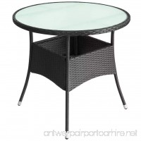 Patio Round Dining Table Glass 35 Wicker - B07FMN3142