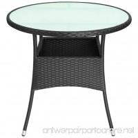 "Saideke Home Outdoor Table Glass Top Poly Rattan 31.5""x29"" Black Patio Backyard Side Stand - B07F9SX7NN"