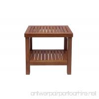 Small Rectangular Table with Shelf Teak Wood Zen (Natural) - B07DLG38K5