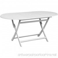 vidaXL 63 Outdoor Oval Dining Table Foldable Patio Garden Acacia Wood Furniture White - B07FLQQTZB