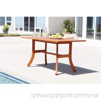 Vifah V189 Outdoor Wood Rectangular Table with Curvy Legs  Natural Wood Finish  59 by 36 by 29-Inch - B001G5GCVE
