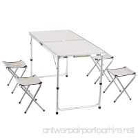 yiren Camping Outdoor Lightweight Folding Picnic Table with 4 Stools - B07D9CJ7F7