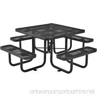 46 Expanded Metal Square Picnic Table Black - B0199RMOZI