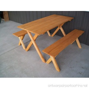 5 Foot Economy Outdoor Picnic Table with 2 Benches Amish Made USA- Cedar Stain - B00IWZID5Y