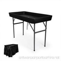 6 Foot Cooler Ice Table Party Ice Folding Table with Matching Skirt - Black - B01MDV4931