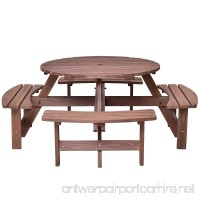 Asher Amada Patio 8 Seat Wood Picnic Table Beer Dining Seat Bench Set Pub Garden Yard Relax Seat - B07C6D3J7B