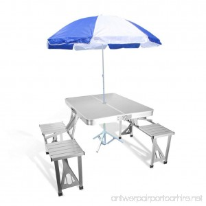 Bartonisen Folding Picnic Table Aluminum Travel Table Coffee Tables with 4 Folding Seats and Suitcase (Table & Umbrella) - B07B7HNHP8