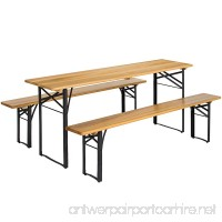 Best Choice Products 3-Piece Portable Folding Picnic Table Set w/Wooden Tabletop - Brown - B0713YCK56