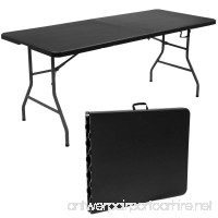 Custpromo 6' Folding Picnic Party Dining Portable Work Table Fold In Half Outdoor and Indoor Use (black) - B07CPMMLLN