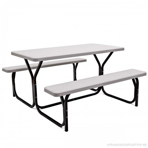 Giantex Picnic Table Bench Set Outdoor Camping All Weather Metal - Metal base picnic table
