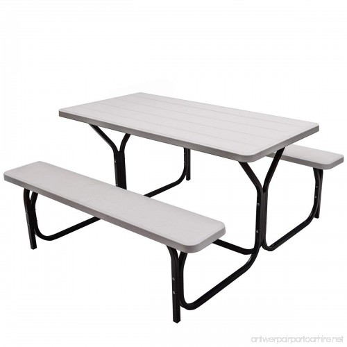 Giantex Picnic Table Bench Set Outdoor Camping All Weather Metal - Large outdoor picnic table