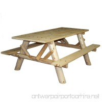 Lakeland Mills CFU232 Cedar Log 6-Foot Picnic Table with Attached Benches Natural - B002BA5E12