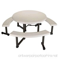 Lifetime Round Picnic Table and Benches 44 Inch Top Almond - B003UFZF5M