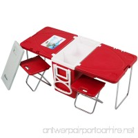 Rolling Cooler Table Picnic Camping Outdoor w/Table with 2 Chairs - B071ZJZD1F