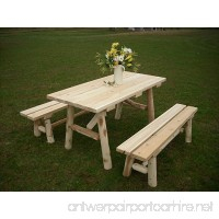 White Cedar Log Picnic Table with Detached Bench - 5 foot - B007Y7S2S4