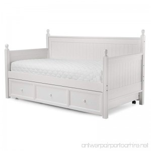 Casey II Wood Daybed with Ball Finials and Roll Out Trundle Drawer White Finish Twin - B002HWRGVK