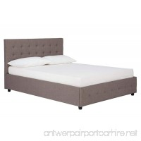 DHP Cambridge Upholstered Linen Platform Bed with Wooden Slat Support and Under Bed Storage  Button Tufted Headboard  Queen Size - Grey - B01M6X16PK