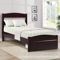 Merax Platform Twin Bed Wood Frame with Storage/Headboard/Wooden Slat Support (Espresso) - B079DJG4T4